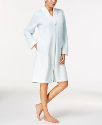 Miss Elaine Quilt In Knit Zip Front Short Robe Aqua