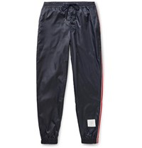 Thom Browne Tapered Grosgrain Trimmed Ripstop Track Pants Navy