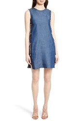 Ted Baker Women's London Tee Up Denim Side Lace Tunic Dress Mid Wash