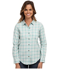 Pendleton Felicia Flannel Shirt Azure Heather Plaid Women's Long Sleeve Button Up Green