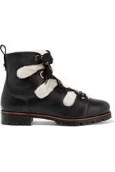 Jimmy Choo Bei Leather And Shearling Ankle Boots Black