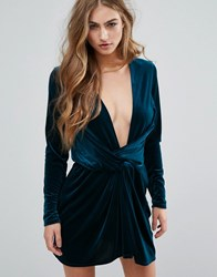 Missguided Velvet Wrap Dress Teal Blue