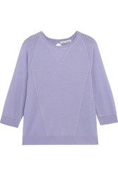 Autumn Cashmere Pointelle Paneled Sweater Lavender