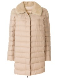 Moncler Gamme Rouge Shearling Padded Coat Mink Fur Duck Feathers Cashmere Polyamide Nude Neutrals