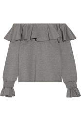 Opening Ceremony Gigi Off The Shoulder Ruffled Cotton Blend Jersey Top Gray