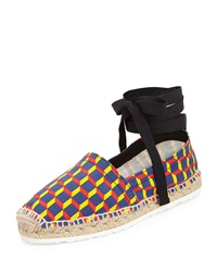 Pierre Hardy Cube Print Ankle Wrap Espadrille Flat Primary