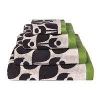 Orla Kiely Wallflower Jacquard Towel Slate Cream Apple Green Bath Sheet 147X100cm