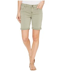 Liverpool Corine Walking Shorts Rolled Cuff In Stretch Peached Twill In Shadow Green Shadow Green Women's Shorts