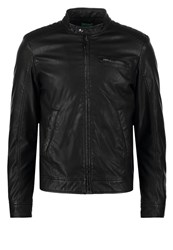 United Colors Of Benetton Faux Leather Jacket Black
