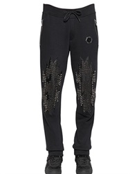 Philipp Plein Studded Leather And Cotton Jogging Pants