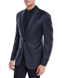 Emporio Armani Box Check Wool Two Button Jacket Blue