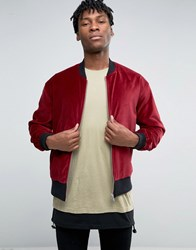 Asos Velvet Bomber With Ruching Detail In Burgundy Burgundy Red