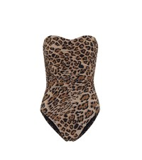 Karla Colletto Exclusive To Mytheresa A Leopard Print Bandeau Swimsuit Beige