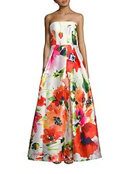 David Meister Sleeveless Floral Print Ball Gown Ivory Pink