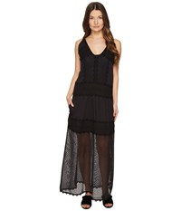 Just Cavalli Sleeveless Long Lace Sheer Dress Black