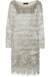 Rachel Zoe Ballina Metallic Fringed Mini Dress Silver