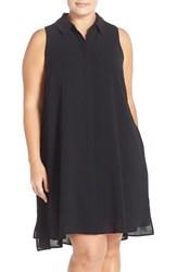 Plus Size Women's Adrianna Papell Crepe Trapeze Shirtdress Black