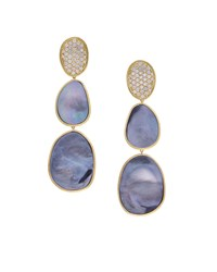 Marco Bicego 18K Lunaria Triple Drop Earrings With Black Mother Of Pearl And Diamond