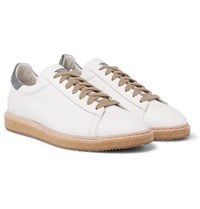 Brunello Cucinelli Suede Trimmed Leather Sneakers White