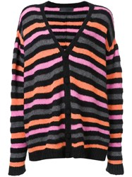The Elder Statesman Striped Loose Fit Cardigan