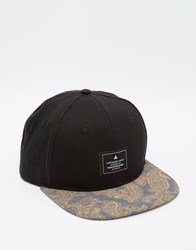 Asos Snapback Cap With Paisley Print Peak Black