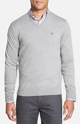 Men's Victorinox Swiss Army 'Signature' Tailored Fit V Neck Sweater Light Graphite