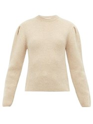 Christophe Lemaire Pleated Sleeve Ribbed Wool Sweater Cream