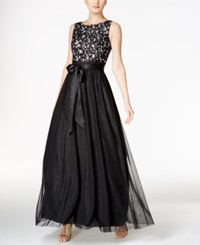 Jessica Howard Sequined Lace And Tulle Ball Gown Black