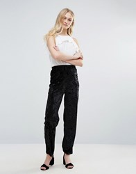Daisy Street Crushed Velvet Trousers Black