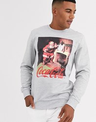 Only And Sons Coca Cola Graphic Christmas Sweat In Grey