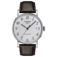 Tissot T1094071603200 Unisex Everytime Automatic Date Leather Strap Watch Brown White