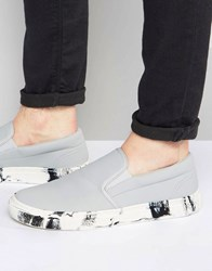 Asos Slip On Plimsolls In White With Marble Effect Sole Grey