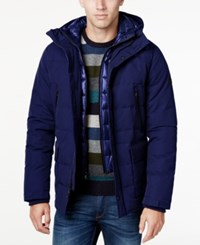 Michael Kors Men's Hooded Puffer Coat With Attached Bib Midnight Chocolate