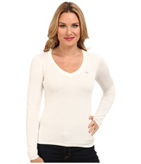 Lacoste Long Sleeve Cotton Double Overlay V Neck Sweater Flour Women's Long Sleeve Pullover White