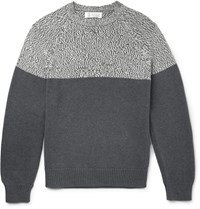 Brunello Cucinelli Two Tone Cotton Sweater Gray
