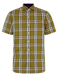 Victorinox Check Classic Fit Short Sleeve Shirt Yellow