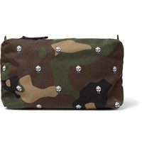 Alexander Mcqueen Leather Trimmed Printed Shell Wash Bag Army Green