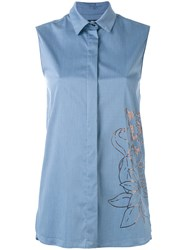 Eggs Metallic Print Sleeveless Shirt Women Cotton Nylon Spandex Elastane 40 Blue