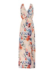 Ariella Side Wrap Maxi Dress Coral