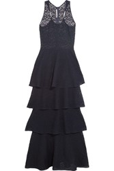 Stella Mccartney Tiered Lace Maxi Dress Navy