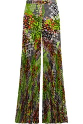 Versace Pleated Floral Print Silk Crepe Wide Leg Pants Lime Green