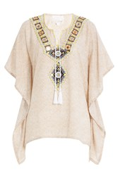 Gooshwa Embellished Cotton Caftan Brown