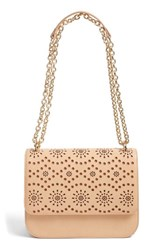 Chelsea 28 Chelsea28 Dahlia Perforated Faux Leather Shoulder Bag Brown Tan