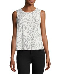 1.State Geometric Print Draped Tank White
