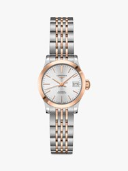Longines L23205727 'S Record Automatic Chronometer Date Two Tone Bracelet Strap Watch Silver Rose Gold