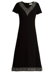 Goat Glam Faux Pearl And Crystal Wool Crepe Dress Black