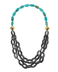 Chain Link Double Strand Turquoise Necklace 39' Gray Nest Jewelry