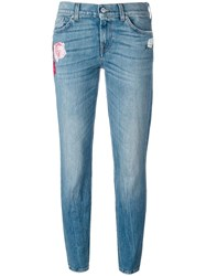 7 For All Mankind Floral Embroidery Jeans Blue
