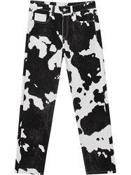 Burberry Straight Fit Cow Print Jeans Black
