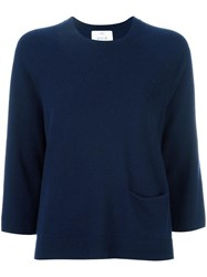 Allude Cropped Sleeves Jumper Blue
